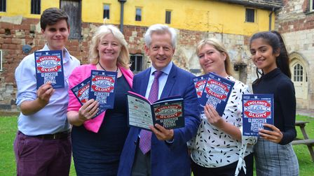 Gloucester MP Richard Graham (centre) with History Festival committee member Donna Renney (centre le