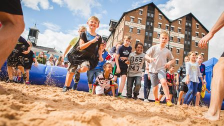 Two glorious beaches are once again being created at Orchard Square, Gloucester Quays
