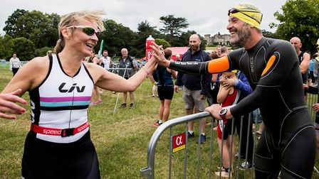 Louise and fellow triathletes enjoing the camaraderie of the event at Cholmondeley Castle