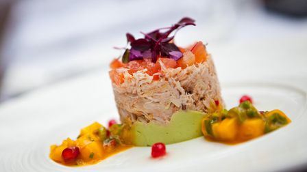 Crab and avocado tian on the Clubhouse and grill menu