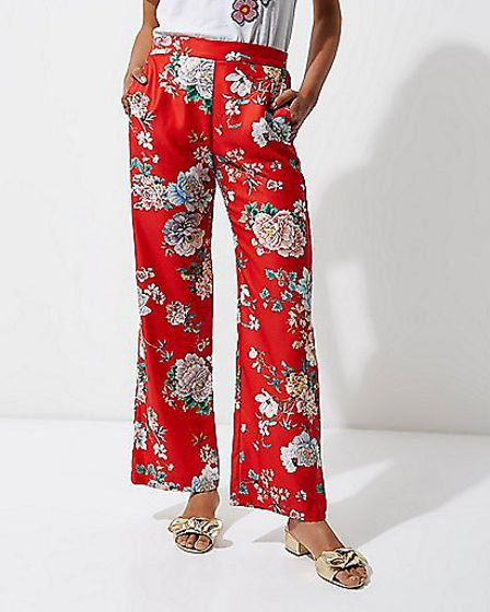 River Island - Red Floral Wide Leg Trousers - £40