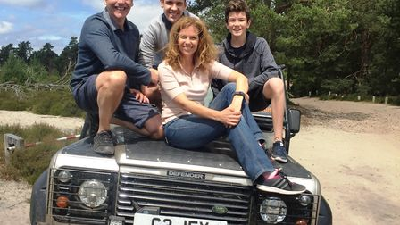 Adele and her family take in the sights aboard the a 4x4
