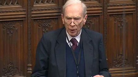 Earl Home talks squirrels in the House of Lords. Photograph: Parliament TV.