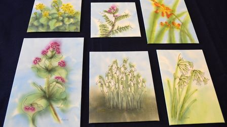 Floral paintings on textiles