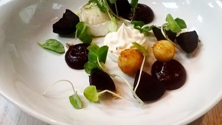 Goats' cheese and beetroot starter