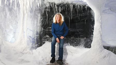Darcey Cronshaw in the Snow Business Ice Cave at their offices