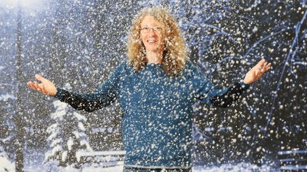Darcey Cronshaw, CEO of Snow Business in Stroud, in their demo shed