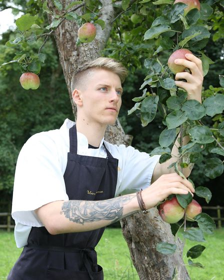 Assistant sous chef, Lewis Sconce checking apples in the orchard
