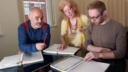 Opera singer, Andrew Greenan, with Dr Valerie Langfield and Andy King (trustees of Retrospect Opera)