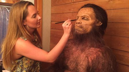 Brogan at work on an ape man for a commercial in Miami, Florida