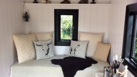 The interior of one of Terry's shepherds huts
