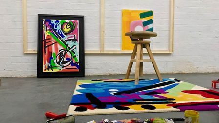 Allistair Covell's workspace at Fenners. He creates bold, colourful abstract paintings which form th