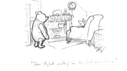 Saw Piglet sitting in his best armchair drawing, from The House at Pooh Corner.