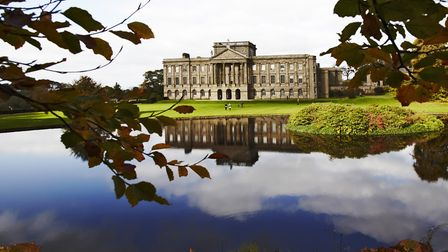 An autumnal view of the lake and south front of Lyme Park (©National Trust Images/Arnhel de Serra)