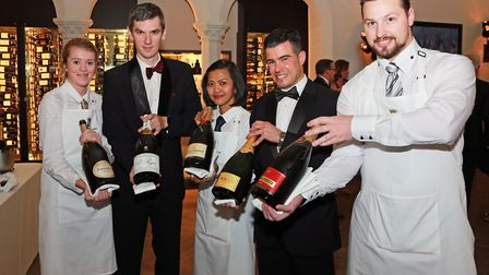 Champagne line-up... sommeliers Rachel Gunn with Perrier Jouet, Michal Lebdowick with Pol Roger, Pew