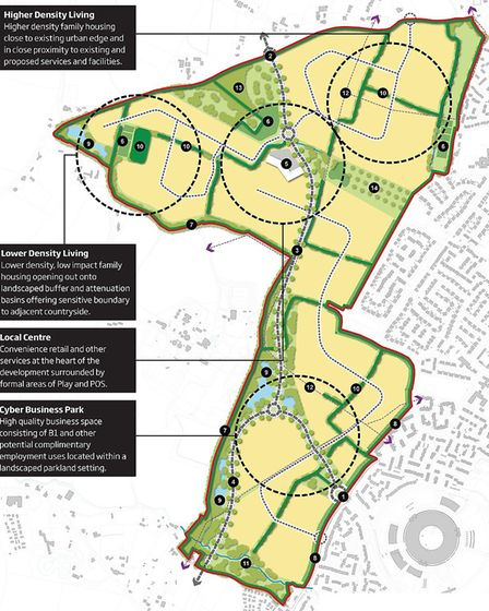 The proposal indicates circa 83 Ha. of Development including 46 Ha. for use as a Cyber Business Park