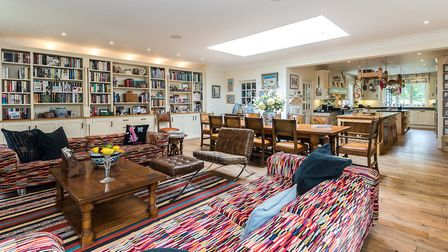 The open plan kitchen-dining-family room measures 52 feet in length (photo: Strutt & Parker)