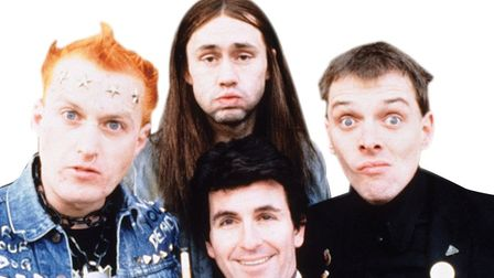 Adrian Edmondson, Nigel Planer, Rik Mayall and Christopher Ryan in The Young Ones (c) BBC Pictures
