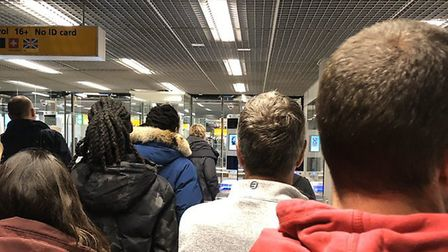 The view of the queues at Schiphol airport. Photograph: Twitter.