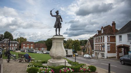 Statue of war hero General James Wolfe, who was born in Westerham; his childhood home Quebec House i