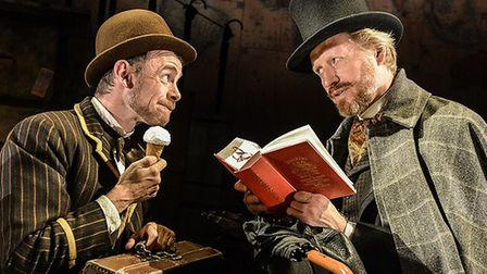 Passepartout (Michael Hugo) and Phileas Fogg (Andrew Pollard) enjoy ice cream in Italy