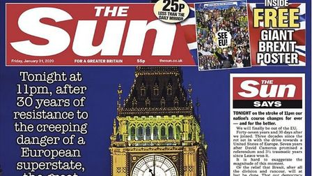 Front page of The Sun on January 31st as the UK entered the Brexit transition period. Photograph: Th