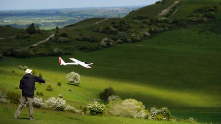 Flying model airplanes in the Chilterns on the edge of Herts - one of John's favourite places to go