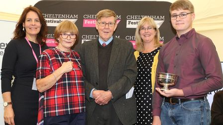 Ali Mawle, Anne Robinson, Alan Bennett, Jane Everiss with James Robertson from overall winners Bream