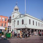 This is Faversham's third Guildhall. Pediments at either end feature the town's seal - virtually the