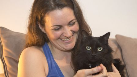 Sophie at home in Thames Ditton with her cat Loki