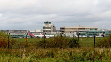 Manchester Airport as viewed from the route