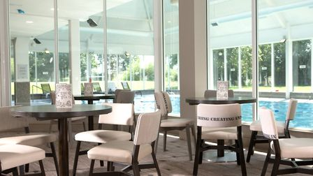 The Woodland Cafe at Macdonald Craxton Wood Hotel & Spa overlooks the indoor swimming pool