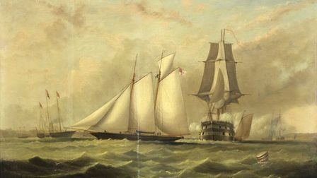 Lot 710 Arthur Wellington Fowles (c.1815 - 1883), Racing Schooner off Ryde signed and inscribed Ryde