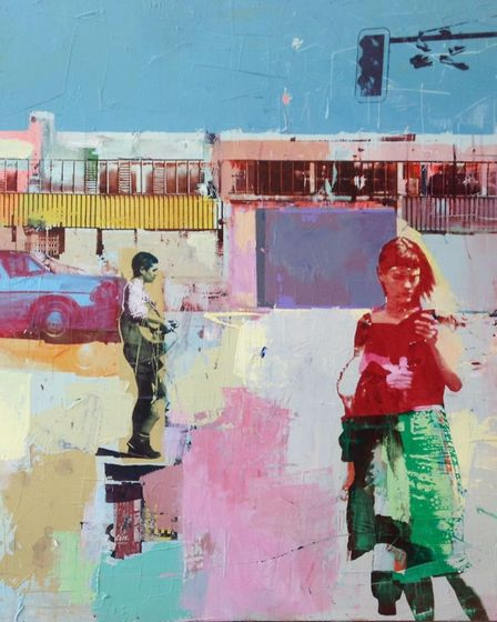 Dan Parry-Jones, Rendez-vous, acrylic, oil, screen-print and collage on board