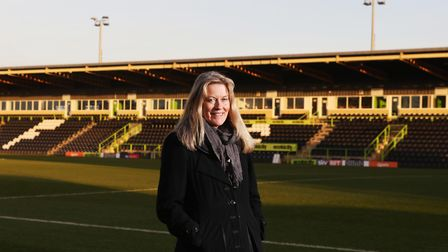 Helen Taylor, CEO of Forest Green Rovers at their New Lawn ground (c) Antony Thompson/TWM