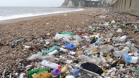 We can all help prevent plastics polluting our seas and beaches such as here at Shakespeare Cliff, D