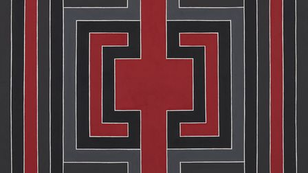 Linear Black Mould on Red, 1967, oil on canvas (image courtesy Gerrish Fine Art)