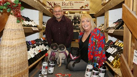 Ste and Christine Ditchfield with Pepsi, Tutu and Mojo of Three Pugs Gin