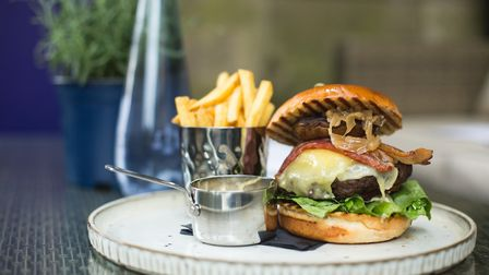 Burger with prime beef at Barristers restaurant in The Courthouse, Knutsford