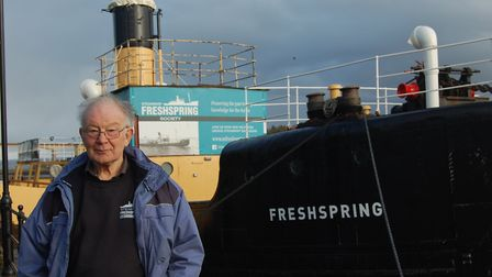 John Puddy in the engine room of Steamship Freshspring
