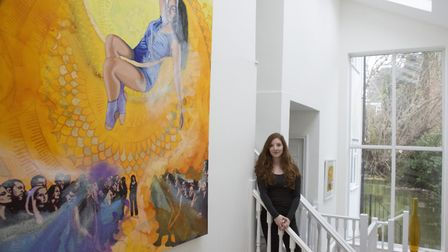 Rebecca Youssefi with her painting The Day (Photo by Ben Hamilton)
