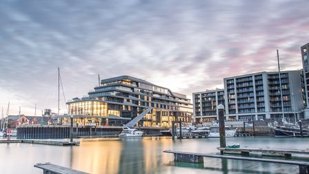 The new Harbour Hotel appears to nose out into the waters of Ocean Village's marina (Photo: Harbour