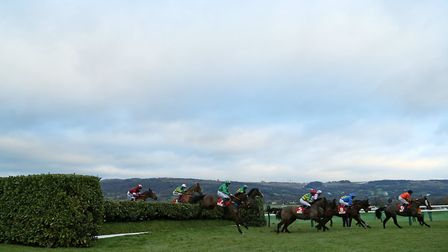 Action from The Glenfarclas Cross Country Handicap Steeple Chase during day one of The International