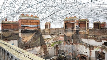 Clandon Park roof with scaffolding _ National Trust Images, James Dobson
