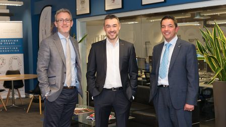 (L-R) Alan Beresford CEO, Raymond Pugh, Managing Director and James Strickland, Group Director
