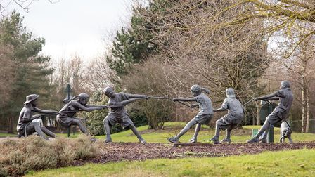 The delightful Tug Of War sculpture is one of many examples of public art in Kings Hill (photo: Manu