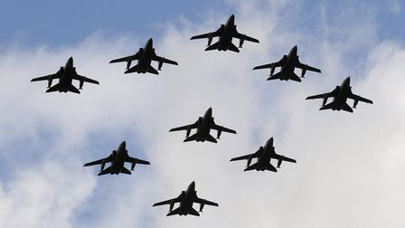 Various aircraft fly overhead during rehearsals at RAF Fairford in preparation for the RAF Colours a