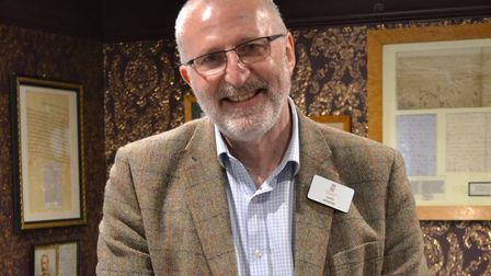 Sudeley Castle archivist Derek Maddock with the Bohun Book of Hours