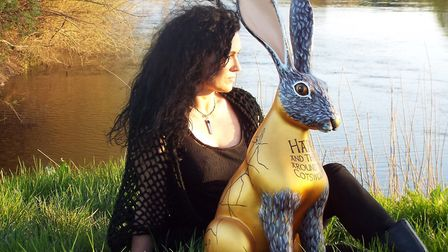 Candia McKormack with the Cotswold Life hare, 'Hare and there around the Cotswolds'