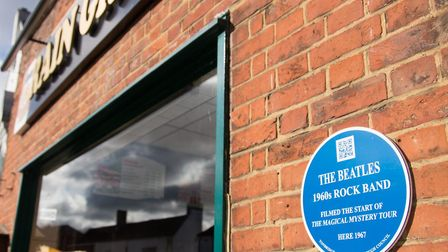 A plaque outside the kebab shop on the High Street commemorates the day in 1967 when The Beatles fil